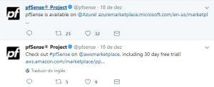 Twitter oficial do pfSense
